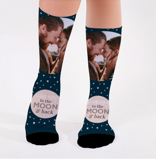 Personalised To The Moon Photo Socks