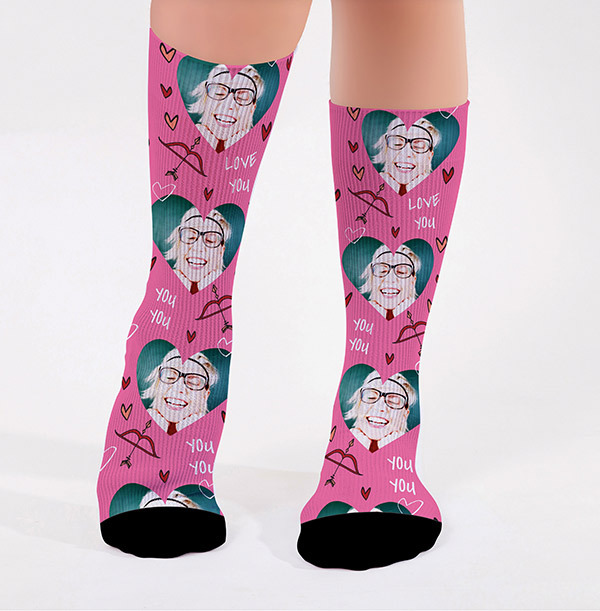 Personalised Pink Love You Photo Socks