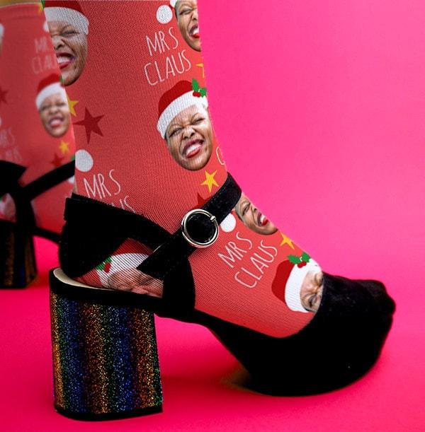 Mrs Claus Photo Socks