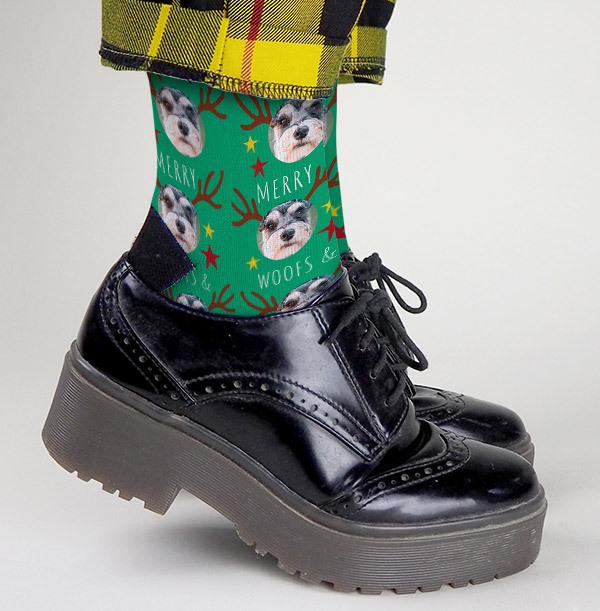 Christmas Woofs and Kisses Photo Socks