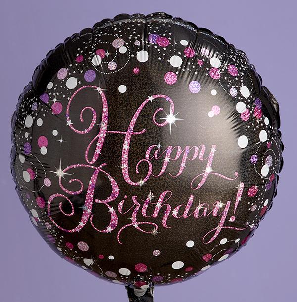 Birthday Sparkle Pink & Black Balloon
