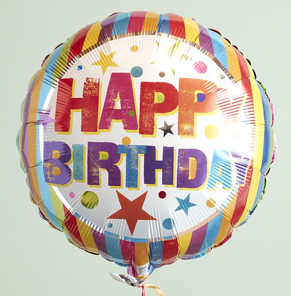 Happy Birthday Multi Colour Stripes & Stars Balloon