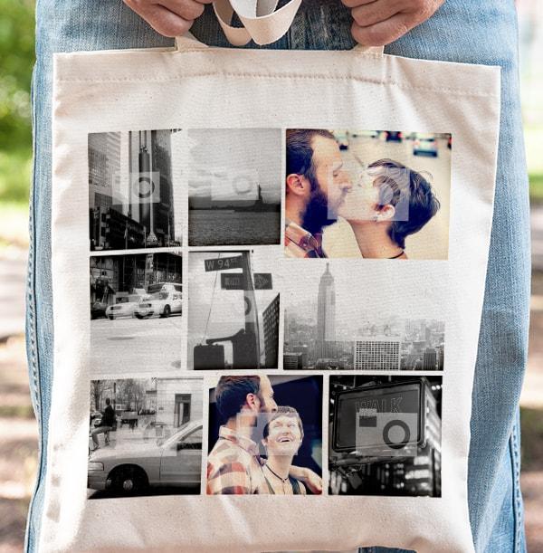 Polaroid Collage Tote Bag