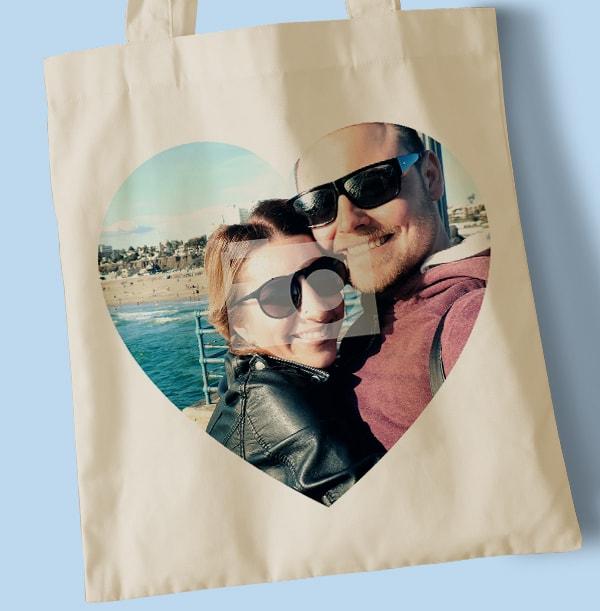Polaroid Heart Collage Tote Bag