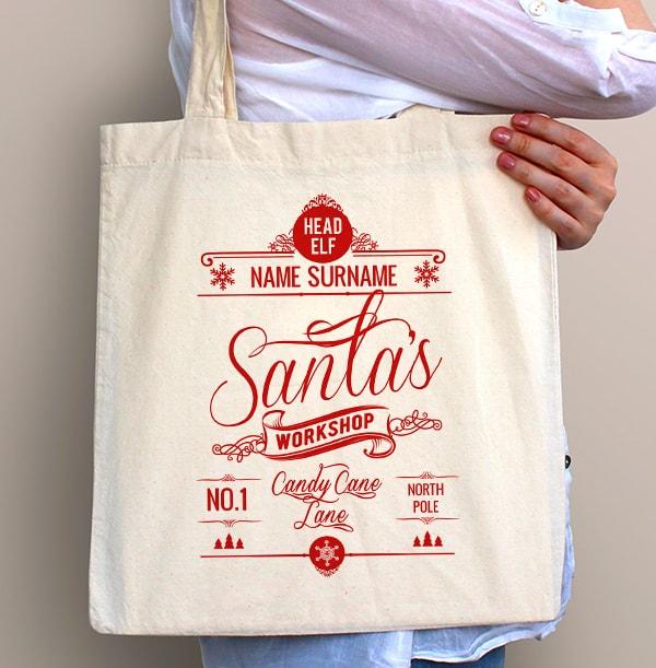 Santa's Workshop Personalised Tote Bag