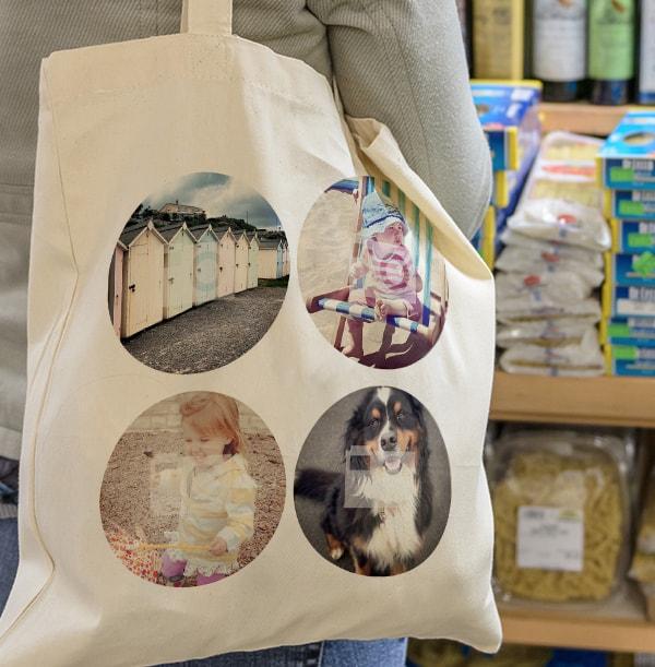 4 Photo Circles Personalised Tote Bag