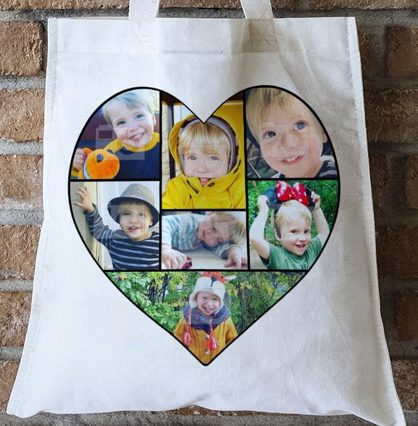 Heart Photo Collage Personalised Tote Bag