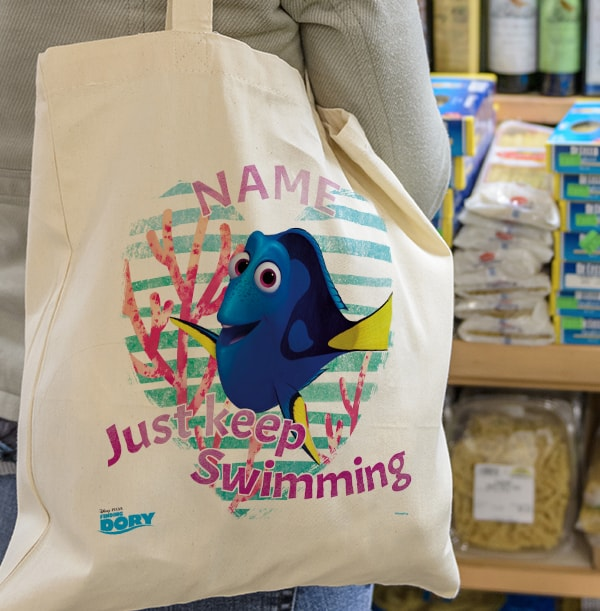 Finding Dory Personalised Keep Swimming Tote Bag