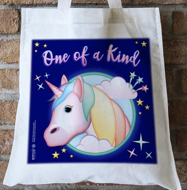 Emoji Unicorn Personalised Tote Bag