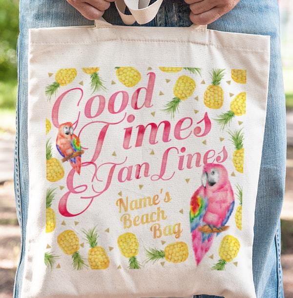 Club Tropics Tan Lines Personalised Tote Bag