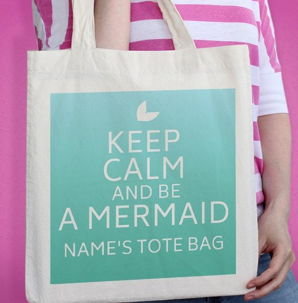 Keep Calm & Be a Mermaid Personalised Tote Bag