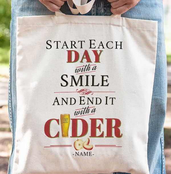 End Each Day With Cider Personalised Tote Bag