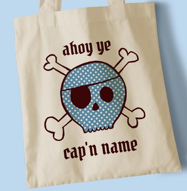 Ahoy Blue Cap'n Personalised Tote Bag