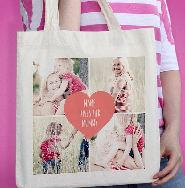 Pink Heart Photo Upload Tote Bag