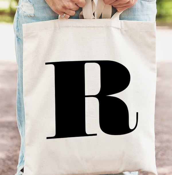 Black Initial Personalised Tote Bag