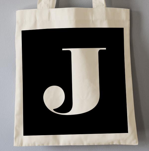 White Initial Personalised Tote Bag
