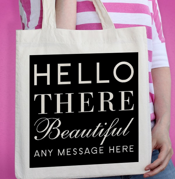 Hello Beautiful Personalised Tote Bag