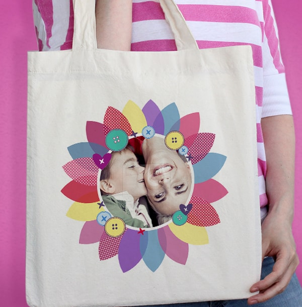 Fabric Flower Photo Tote Bag