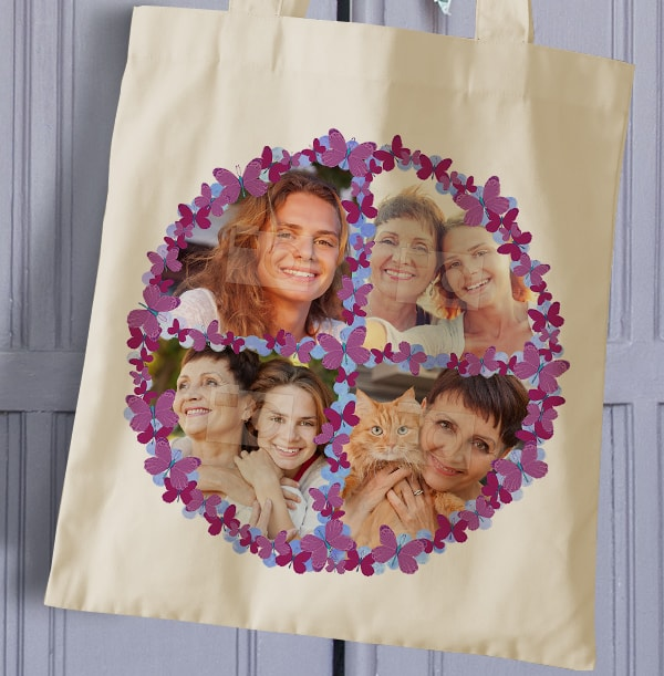 Purple Butterflies Photo Collage Tote Bag
