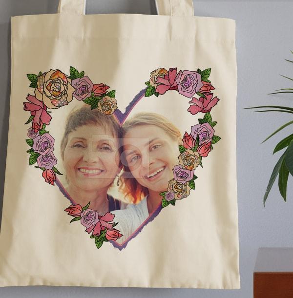 Heart & Roses Photo Personalised Tote Bag