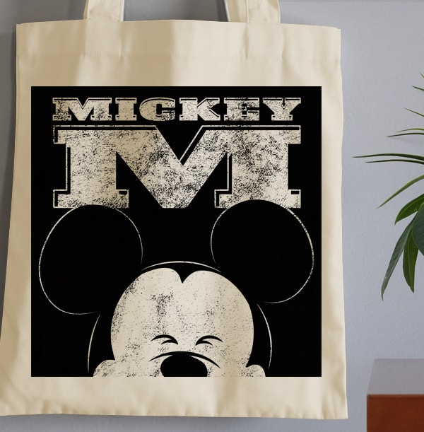 Mickey Mouse Personalised Initial Tote Bag