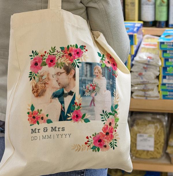 Neon Blush Mr & Mrs Photo Tote Bag