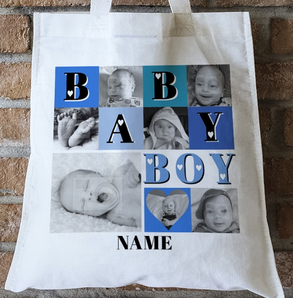 Baby Boy Multi Photo Collage Tote Bag