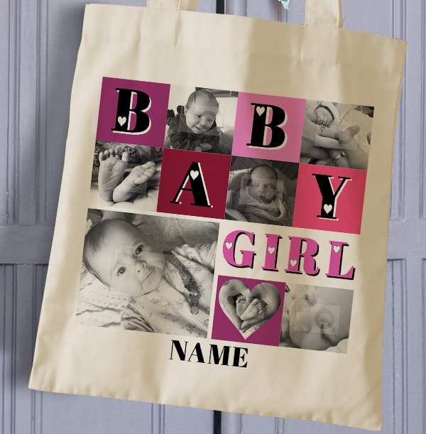 Baby Girl Photo Collage Tote Bag