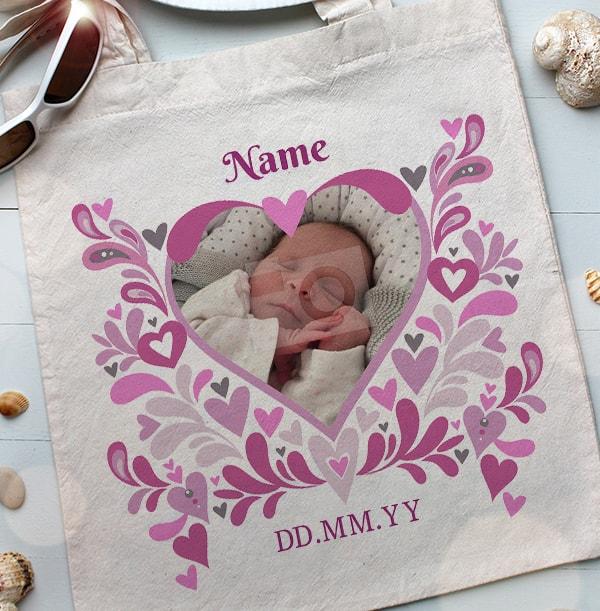 Baby Girl Heart Photo Tote Bag