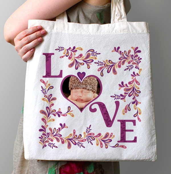 Love Heart Photo Upload Tote Bag