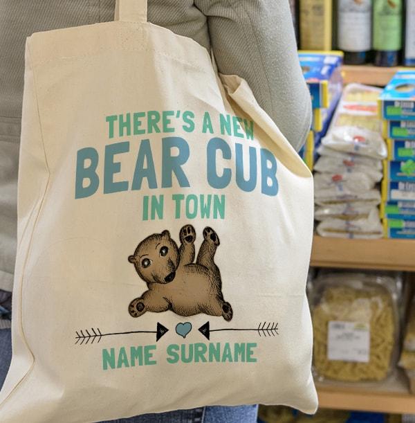 Baby Boy Bear Cub Personalised Tote Bag