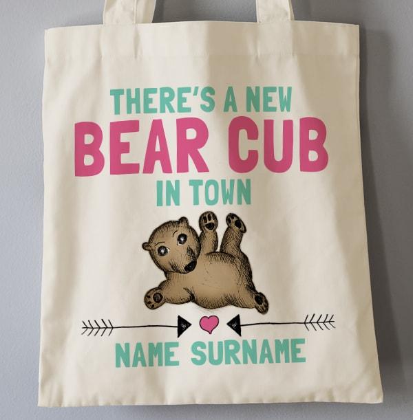 Baby Girl Bear Cub Personalised Tote Bag