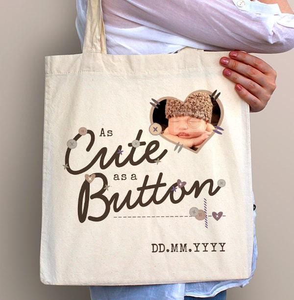 Cute as a Button Baby Photo Tote Bag
