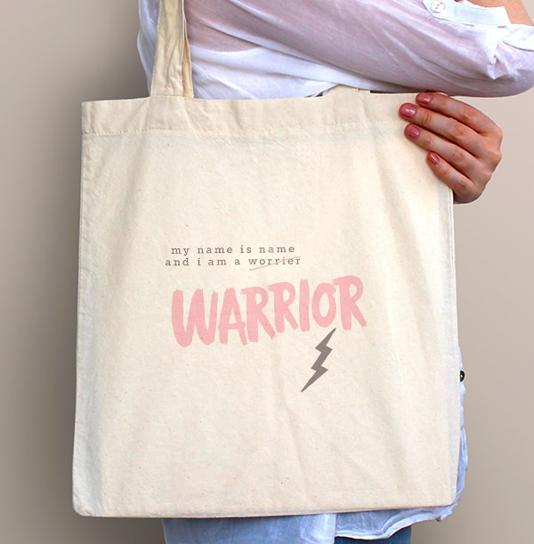 I Am A Warrior Personalised Tote Bag