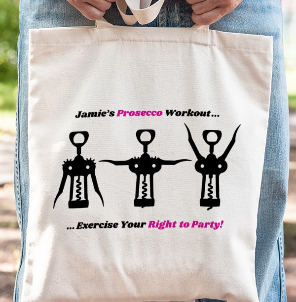 Prosecco Workout Personalised Tote Bag
