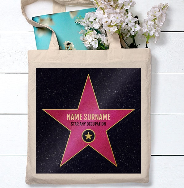 Pink Star Hollywood Personalised Tote Bag