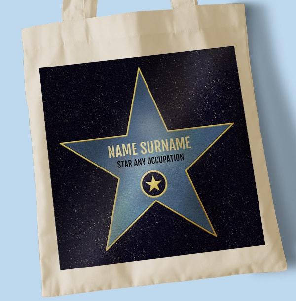 Blue Star Hollywood Personalised Tote Bag