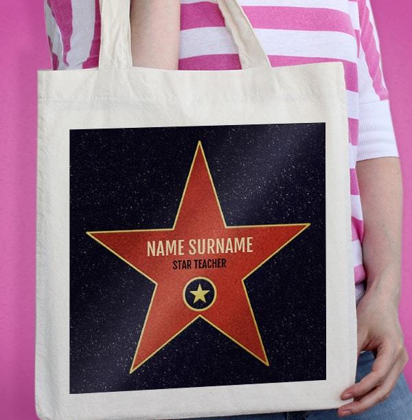 Star Teacher Personalised Tote Bag