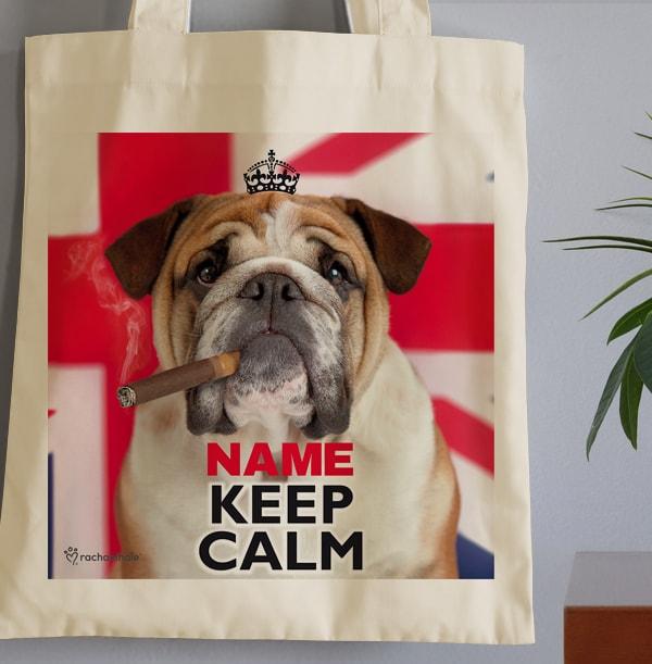 Keep Calm Bulldog Tote Bag - Rachael Hale