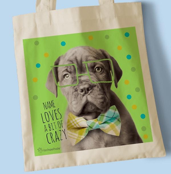 Pup Wearing Glasses Personalised Tote Bag
