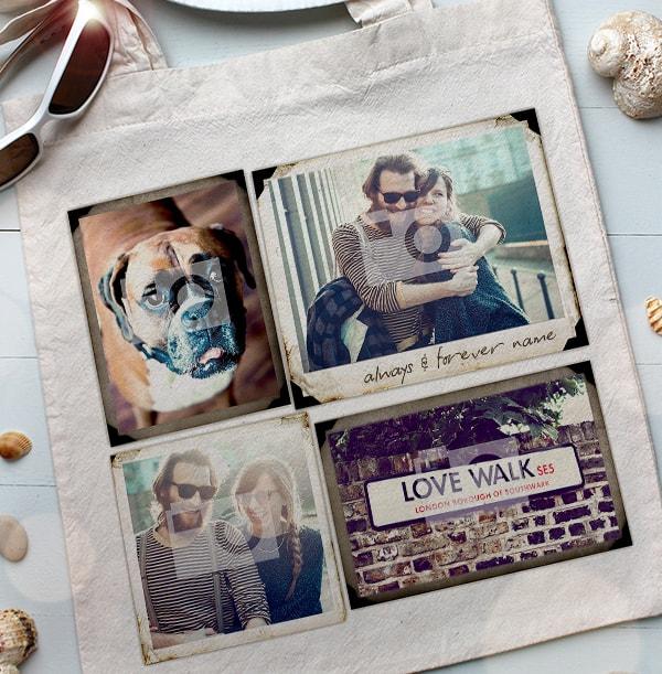 5 Photo Polaroid Personalised Tote Bag