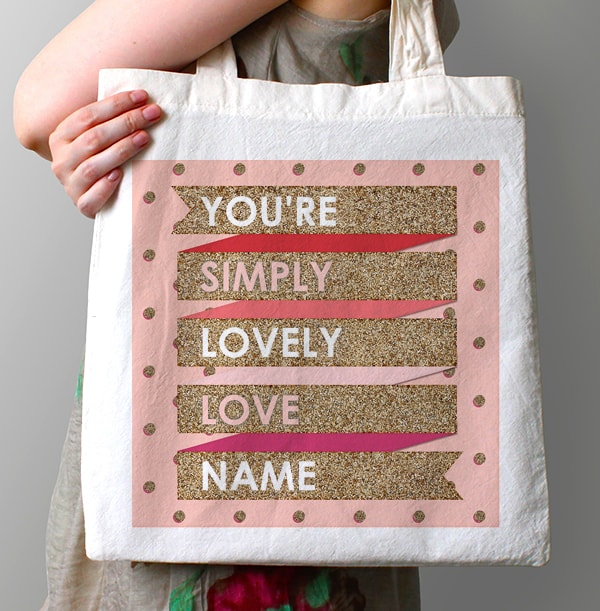 Girly Gold & Pink Lovely Banner Tote Bag