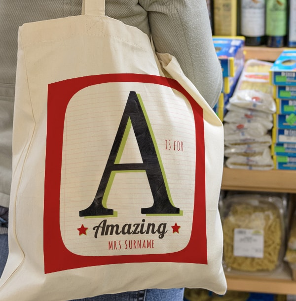 A is for Amazing Personalised Tote Bag