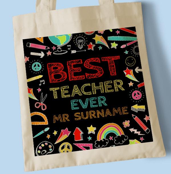 Best Teacher Ever Personalised Tote Bag