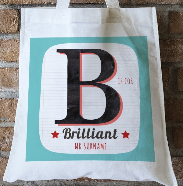 B is for Brilliant Personalised Tote Bag