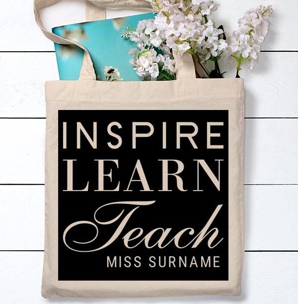 Inspire, Learn, Teach Personalised Tote Bag