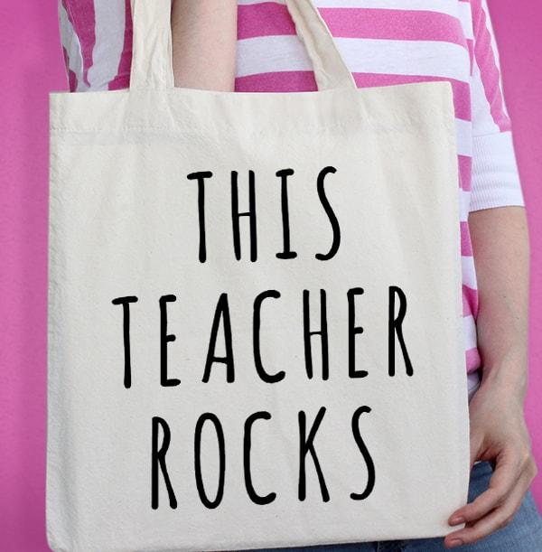 This Teacher Rocks Personalised Tote Bag