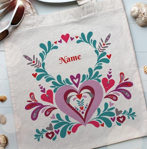 Folklore Heart Personalised Tote Bag