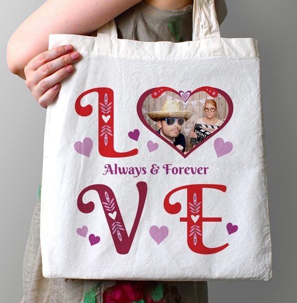 Love & Heart Personalised Tote Bag