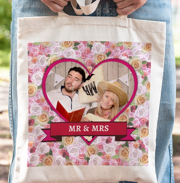 Mr & Mrs Heart Personalised Tote Bag
